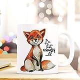 ilka parey wandtattoo-welt Tasse Becher Bedruckt mit Fuchs & Spruch Du bist wundervoll Kaffeetasse Kaffeebecher ts842