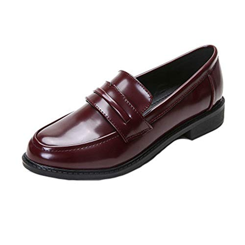 (Damen Klassiker Penny Loafers Slip-On Beiläufige Niedrige Flache Comfort Business Dress Oxford Schuhe)