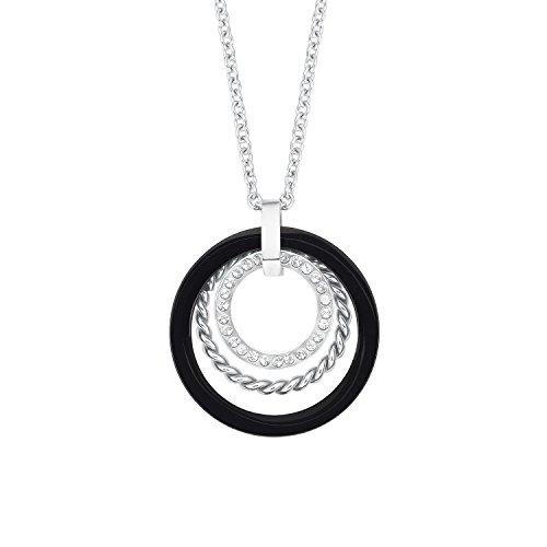 s.Oliver Damen-Kette mit Anhänger Kreis Geometrie Edelstahl Kristall weiß 75 cm-2012587