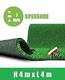 Rasenteppich 7mm Kunst Gras Teppich Fell Garten begehbar 4x4m