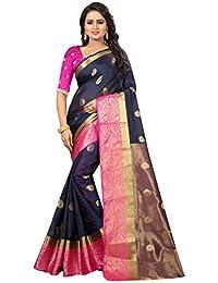 Indian Beautiful Women's Cotton Silk Saree (HUMSAFAR PINK _Pink_ Free Size)