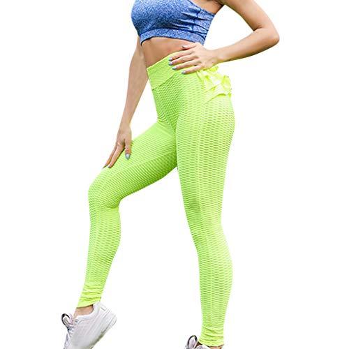 Top-scrunch (Damen High Waist strukturierte Workout Anti-Cellulite Kompression-Leggings Slim Fit Butt Lift Elastische Hosen Scrunch Yoga Pants Slimming Rüschen Strumpfhose)