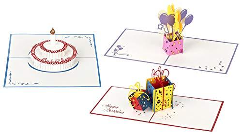 3D Geburtstagskarten  - Set mit 3 Stück Pop up Karten im günstigen Vorteilspack  inclusive Umschlag und Schutzhülle - Pop-Up-Karten - handgefertigt - Motive: Torte & Geschenk & Luftballons (Geburtstag Billig Einladungen 60)