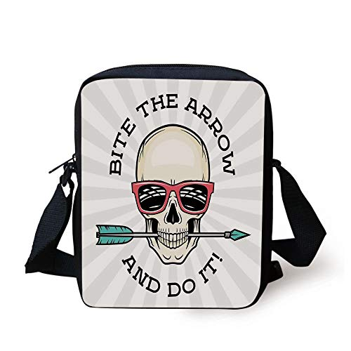Skull,Hipster Skull with Punk Sunglasses and Arrow in Mouth Dead Vibes in Retro Graphic Print Decorative,Multi Print Kids Crossbody Messenger Bag Purse