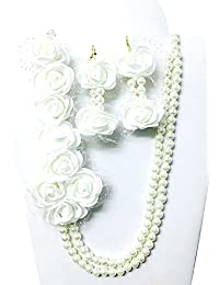 Tingoking Floret Jewellery White Floral Necklace With Pearls Jewellery Set For Women/Girls