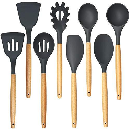 BGROESTHE Küchenutensilien-Set Küchenutensilien-Set - Silikon-Kochgeräte - Silikon-Utensilien - Kochutensilien - Holzgriff Kochlöffel - Utensilien Silikon 10-teiliges Küchenset (Farbe : 8 Sets) - Silikon-spachtel Holzgriff