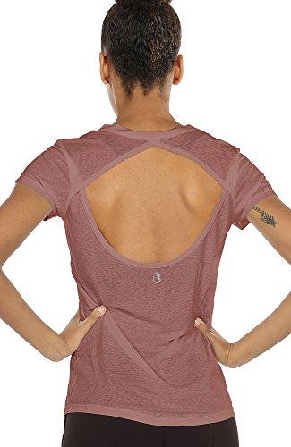 T-Shirt Damen Rückenfrei - Casual Bluse Kurzarm Top Oberteile V-Ausschnitt Shirt (XL, Mocha) ()