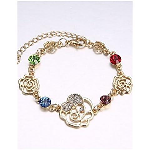 Fabulous Donna Oro Giallo 18K Placcato Colorful cristallo austriaco braccialetto con ciondoli a forma di