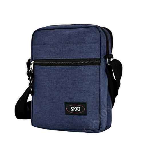 Gloria Kaos–Bolsa Bolso Hombre Correa Ajustable Tela Técnico Moderno Azul GK-A001-Blue