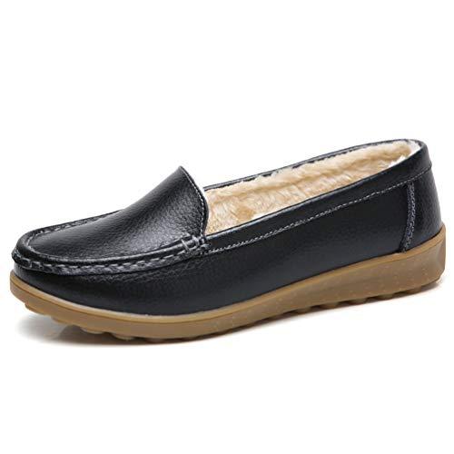 JRenok Frauen-Ebene-Müßiggänger-beiläufige Schuhe Plüsch-Mokassins Slip-On Sewing Winter-weibliche Damen Low Heels Footwear