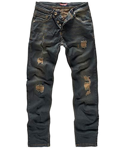 Rock Creek Herren Jeans Dirty Wash RC-329 [W31 L34] - Regular Fit Stone Washed Jean