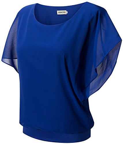 HIMONE Frauen Sommer Lose Beiläufige Batwing Kurzarm Chiffon Top T-Shirt Bluse Blau,S (Shirt Top Chiffon)