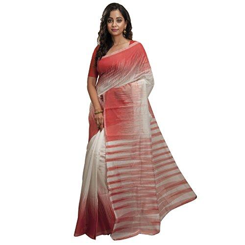 Avik Creations Ikkat Tant Jamdani Handloom Silk Cotton Saree Maroon White