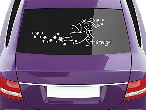 GRAZDesign Autodeko Autotattoo Schutzengel, Autosticker Autofolie Sternenschweife, Aufkleber Heckscheibe schönes Motiv / 24x70cm / 070 schwarz
