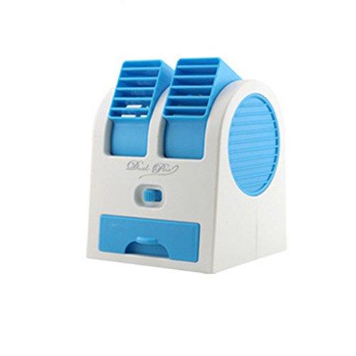 Mini Ventilador de Refrigeración Dual USB Aire Acondicionado Portátil de Escritorio - Azul