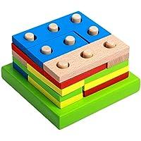 CESHUMD Bloques de construcción de Madera educativos geométricos del Tablero de clasificación Montessori Kids Baby Juguetes educativos Bloque de construcción