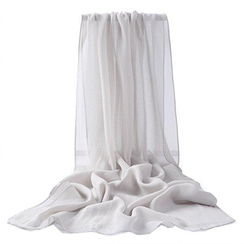 Prettystern - uni- tinta unita semplice scialle in seta pura sciarpa stole - 30 colori selezionabili, argento, 176cm x 55cm