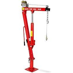 EBERTH 450kg Grue de levage hydraulique avec Treuil (Chaîne et un Crochet, 1900 mm Hauteur de levage, Bague rotative à 360°, Pliante)