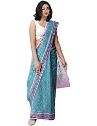 Unnati Silks Women's Kota Cotton Saree with Block Prints (UNM31823+Green+Free Size)