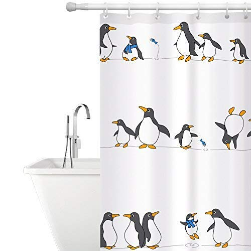 Tatkraft Penguins Cortina Ducha de Tela Impermeable Resistente al Moho 180x180cm con 12 Anillas Custom Design