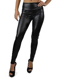 Nouveau Collant Leggings Pour Femmes Taille Haute En Faux Cuir Lustré - Couleur : Noir