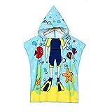VSTON Serviette de plage enfant poncho pour serviette à capuchon de bain bain, serviette de bain Cartoon enfants microfibre à séchage rapide pour les filles, garçons (Frogman plongée)