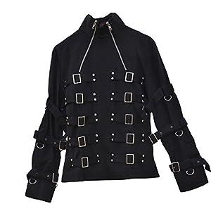 El celibato 21004705.008M Mujeres gótica de Steampunk chaqueta hebillas chaqueta y ojales - hip-longitud, M grande, negro