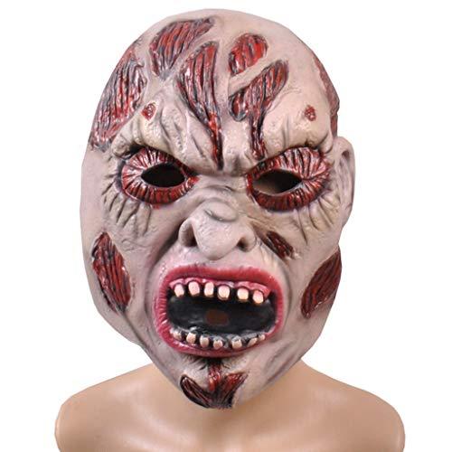 Scary Gruselige Maske Halloween Weihnachten Horror Grimasse Maske Ghost Festival Latex Maske Ghost Zombie Mumie Maske Masken (Color : Pink, Size : ()