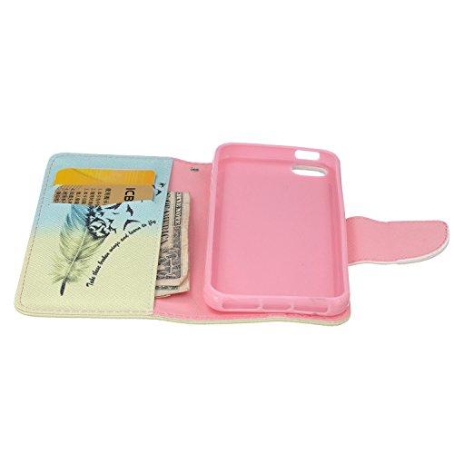 MOONCASE iPhone SE Coque, Printing Series Case Étui en Cuir Portefeuille Housse de Protection Etui à rabat Cover pour Apple iPhone 5 / 5S / iPhone SE BF11 BF08 #0401