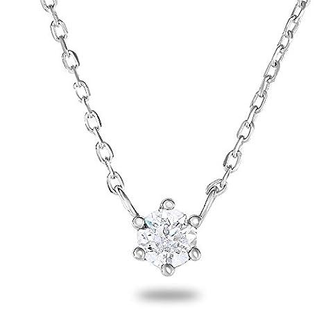 rhodium plaqué argent sterling 925imitation diamant AAA 4mm 6griffes Solitaire Réglage de chaîne
