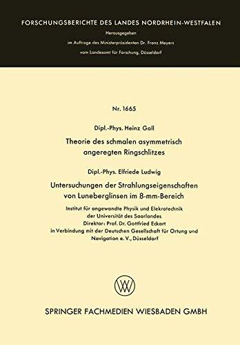 Theorie des schmalen asymmetrisch angeregten Ringschlitzes. Untersuchungen der Strahlungseigenschaften von Luneberglinsen im 8-mm-Bereich . . . Landes ... des Landes Nordrhein-Westfalen, Band 1665)