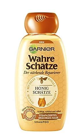 Garnier Wahre Schätze Shampoo, Intensive Haarpflege bis in die Spitzen, Schützt die Haarfarbe (mit Gelée Royale, Bienenbalsam & Honig - für strapaziertes, brüchiges Haar - ohne Parabene) 1 x 250 ml)
