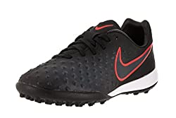 Nike Kids Jr Magistax Opus II Tf Black/Black Total Crimson Turf Soccer Shoe 10. 5 Kids US