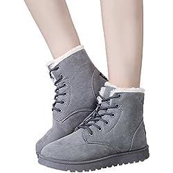 Minetom Donna Autunno Inverno Lace Up Pelliccia Classico Neve Stivali Snow Boots Stivali Cavaliere Scarpe Piatte Grigio EU 35