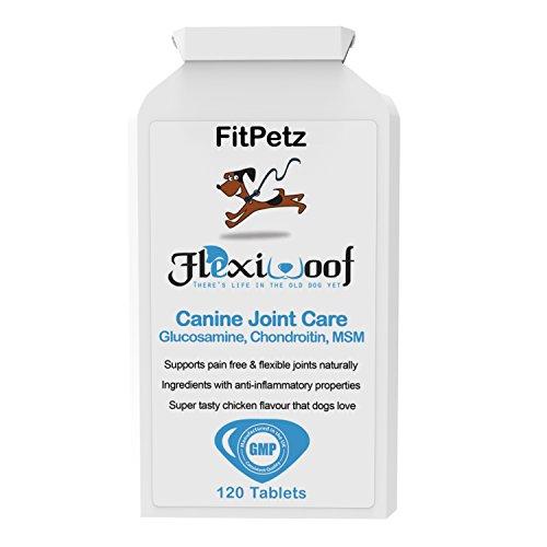 Hunde-Gelenk-Ergänzungen - FlexiWoof - Glucosamin, Chondroitin, MSM, Hyaluronsäure, Curcumin, Grünlippmuscheln - Arthritis-Tabletten für Hunde - 120 Chicken Flavoured Tablets - Geschmacksgarantie - UK