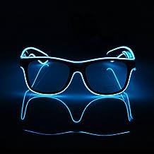 El Fashion gafas con iluminación con forma de el alambre resplandor LED gafas de sol Rave Disfraz Fiesta, concierto, Festival, azul