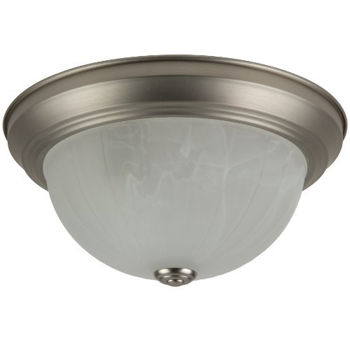 Alabaster Finish (Sunlite DBN11/AL 11-Inch Dome Ceiling Fixture, Brushed Nickel Finish with Alabaster Glass by Sunlite)
