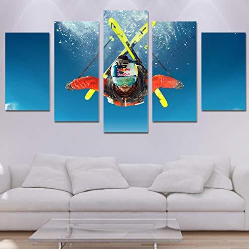 Kai&Guo Wohnzimmer HD gedruckte Moderne Dekoration Poster Frame 5 Panel Freestyle Ski modulare Bild Wand Kunst Home Malerei auf Leinwand, Rahmen, 30x50 30x70 30x80 cm (Freestyle-ski-poster)