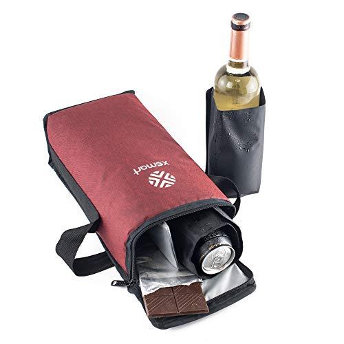 Slim Kühltasche XSmart mit Zwei Multifunktions-Eis/Flüssigkeit Flaschenkühler für Rucksäcke und Golftaschen um Kaltes Bier und Wein im Freien Isoliert,Wasserdicht zu Lagern,Mini (Rot)