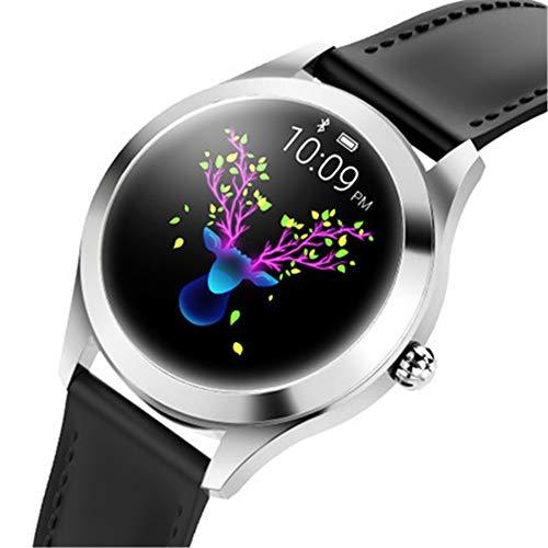 Finerwi La más Nueva Señora Reloj Inteligente Kingwear KW10 Impermeable IP68 Monitor de Ritmo Cardíaco de Acero Inoxidable Reloj Inteligente para Mujeres,2