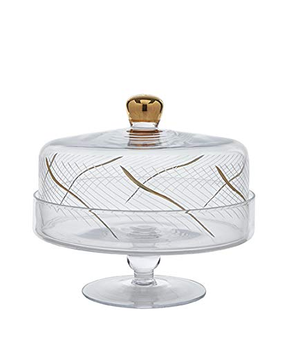 Glazze Crystal RMC-458-GL Tortenständer mit Kuppel, 24 Karat Gold, 22,9 cm H-10 Durchmesser (Mini-kuchen-sockel Gold)