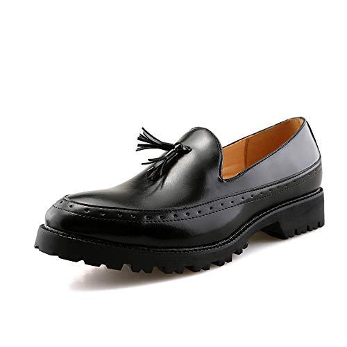 Lackleder Herren Business Schuhe Oxford Schuhe lässige Mode britischen Wind bequem dicken Boden rutschfeste Matte lebhafte Quaste offizielle Schuhe (2 Farben optional) Abendgarderobe Dress Schuhe
