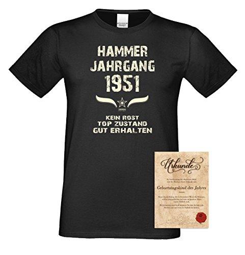 Geschenk Set : Geschenkidee 66. Geburtstag ::: Hammer Jahrgang 1951 ::: Herren T-Shirt & Urkunde Geburtstagskind des Jahres für Ihren Papa Vater Opa Großvater ::: Farbe: schwarz Schwarz