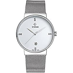 WWOOR Men's Ultra Thin Mesh Band Stainless Steel Male Elite Sports Wrist Watch with Date (White)
