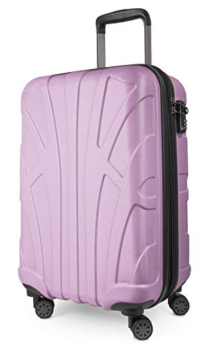 SUITLINE Suitline Handgepäck Bordgepäck Koffer mit Laptoptasche und Erweiterung, Business Trolley, TSA, 55 cm, ca. 38 Liter, 100% ABS Matt, Flieder