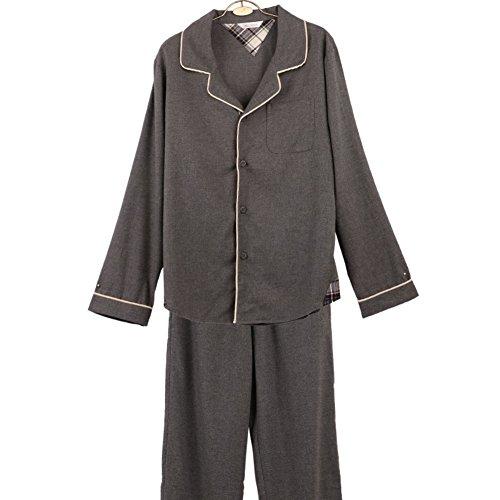 Autunno pigiama Uomo/ pigiama tessuto spazzolato/ pigiama di cotone confortevoli/Pacchetti di servizi per la casa/tuta (Bottoni Cotone Slip)