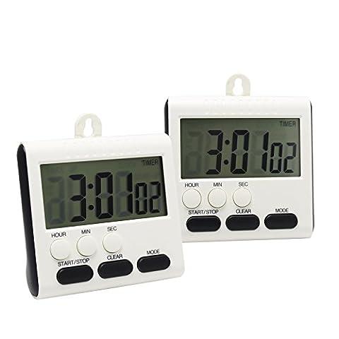 Minuteur numérique de cuisine avec grand écran LCD et clock-function Support dos magnétique support de suspension, 2 PCSES White and Black