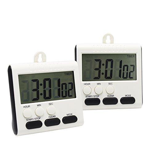 Digital Küchenuhr Timer, 24 Stunden, magnetisch, mit großem LCD-Display 2 Stück weiß / schwarz (Titan Tv-ständer)