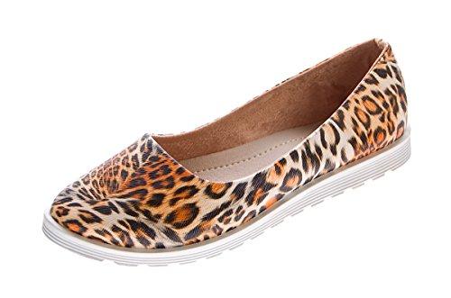 36 Sandalen Animal Damen Blau Braun Schuhe Slipper flach 41 Print Braun Gr Ballerinas UZfqv8wF