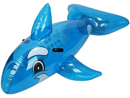 com-four® Aufblasbare Schwimmfigur - Schwimmtier mit Delfin Motiv für Kinder (1 Stück - Defin/blau)